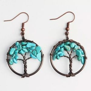 Tree of life earrings - turquoise or rose quartz